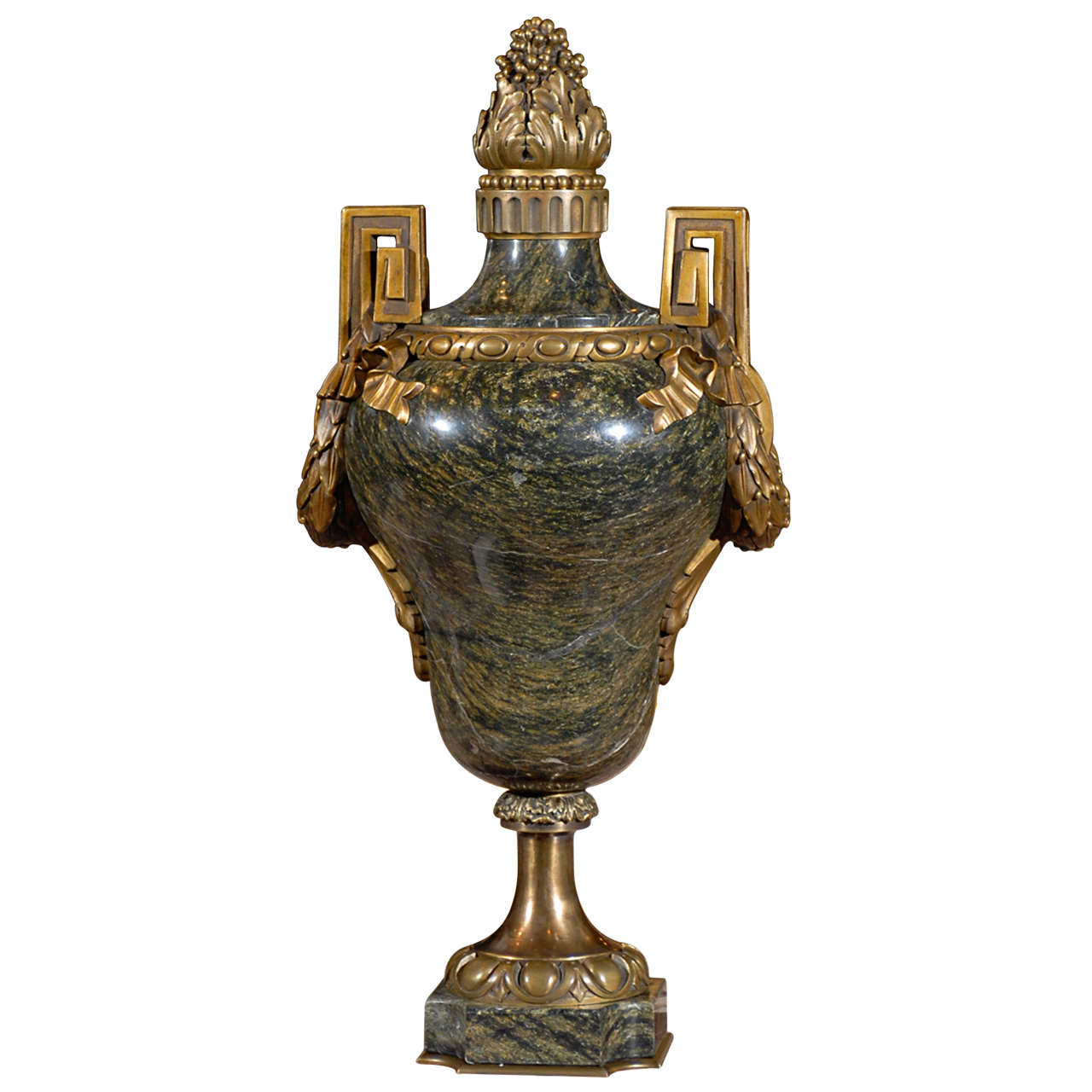 Antique Bronze and marble urn