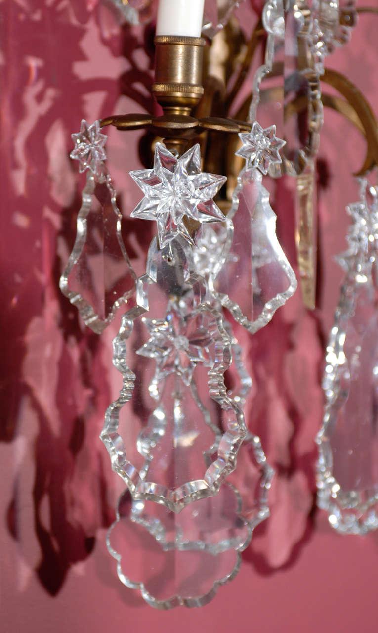 Crystal Antique Superb Pair Of Sconces For Sale