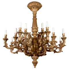 Antique Chandelier. Monumental Giltwood Chandelier