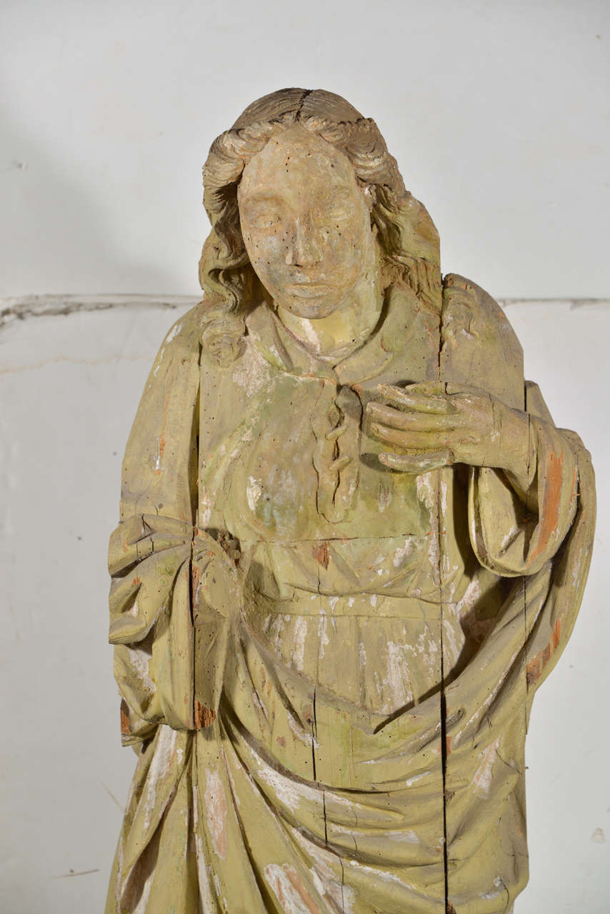 Baroque Large 17th Century Hand-Carved Wooden Statue For Sale