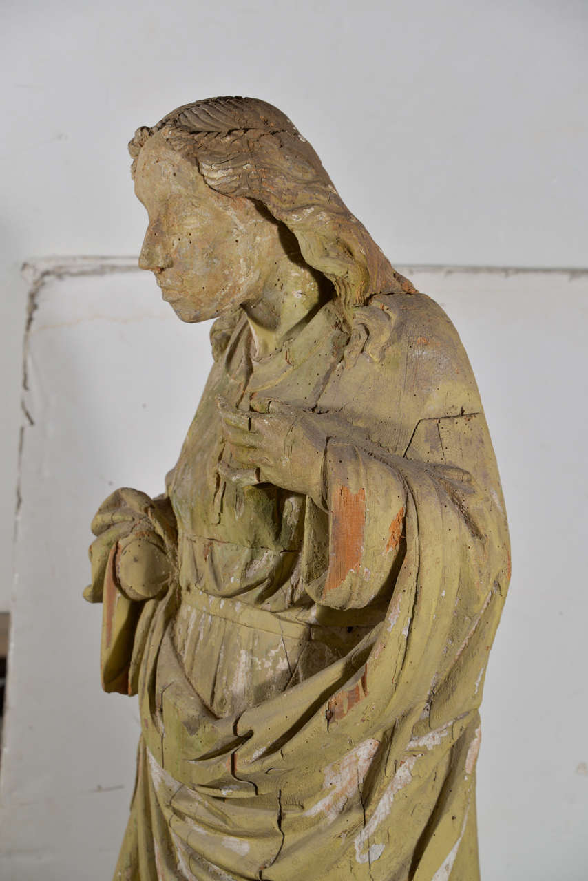 Large 17th Century Hand-Carved Wooden Statue In Excellent Condition For Sale In Houston, TX