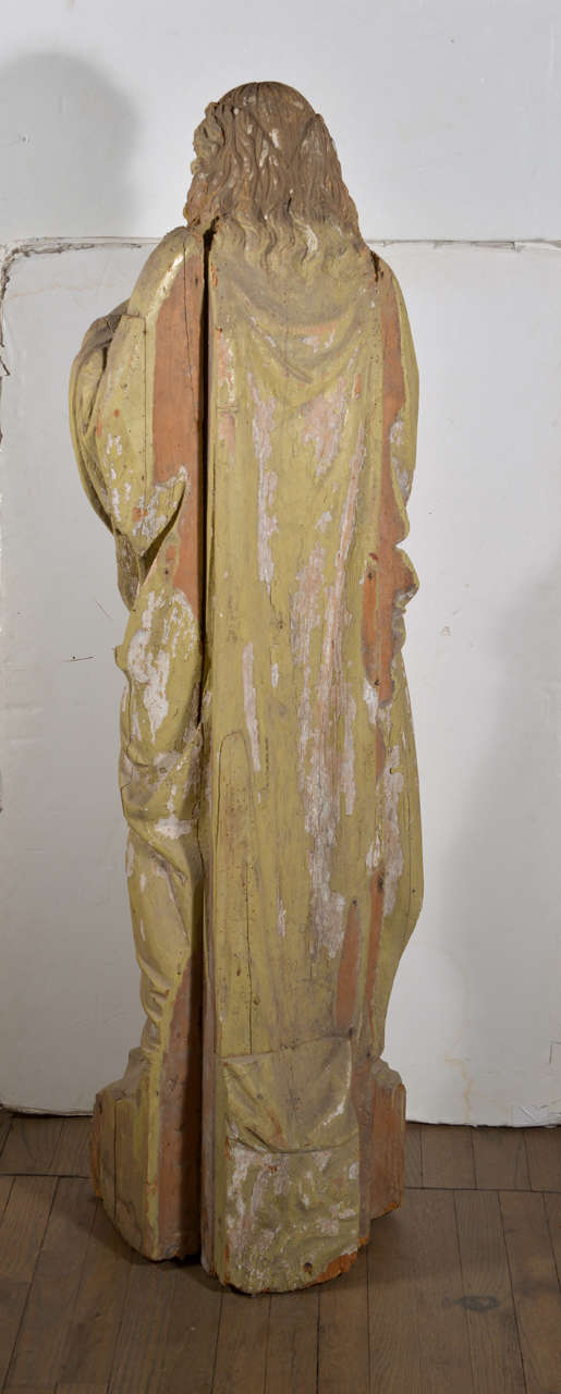 Large 17th Century Hand-Carved Wooden Statue For Sale 2
