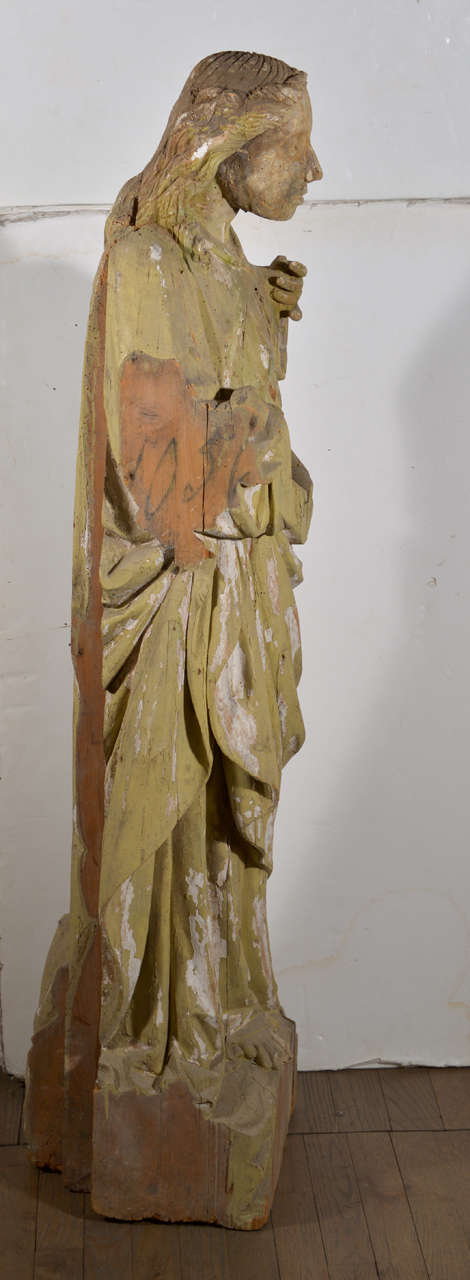 Large 17th Century Hand-Carved Wooden Statue For Sale 4