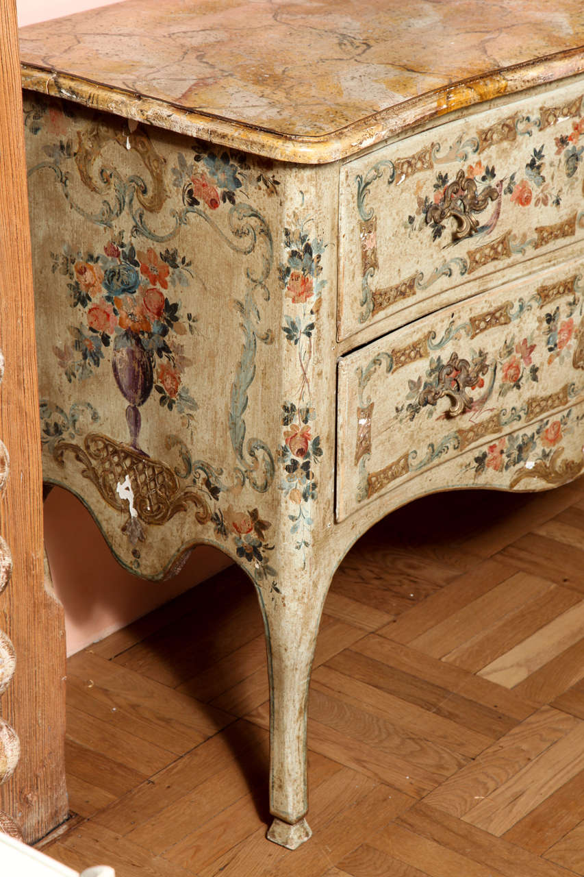 A pair of italian rococo style painted commodes at 1stdibs for Italian painted furniture