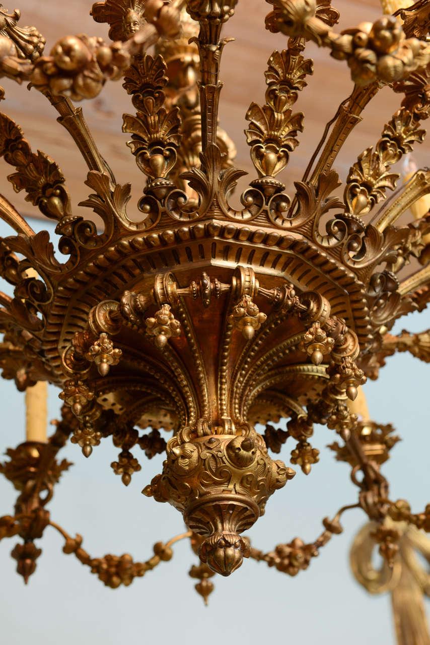 Magnificent Napoleon Iii Gilt Bronze Chandelier For Sale