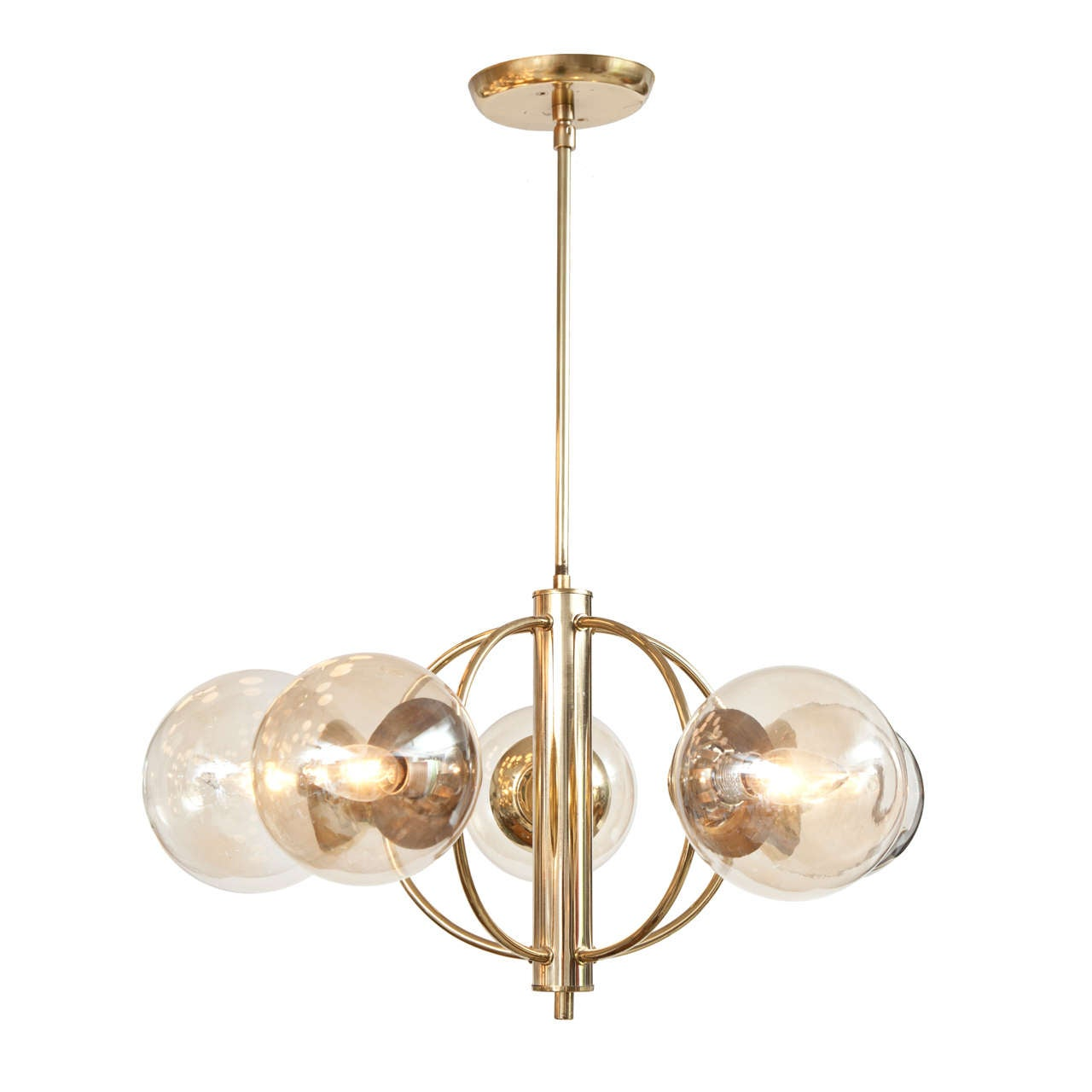 Italian Five Globe Chandelier, circa 1960s For Sale
