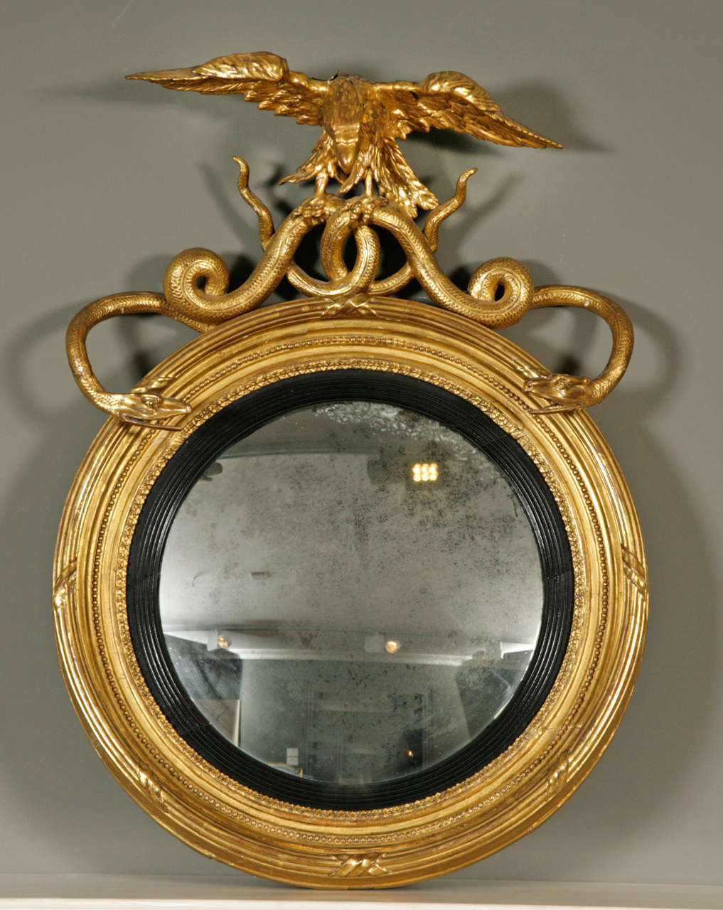 Convex Wall Mirror good regency carved giltwood and gesso convex wall mirror at 1stdibs
