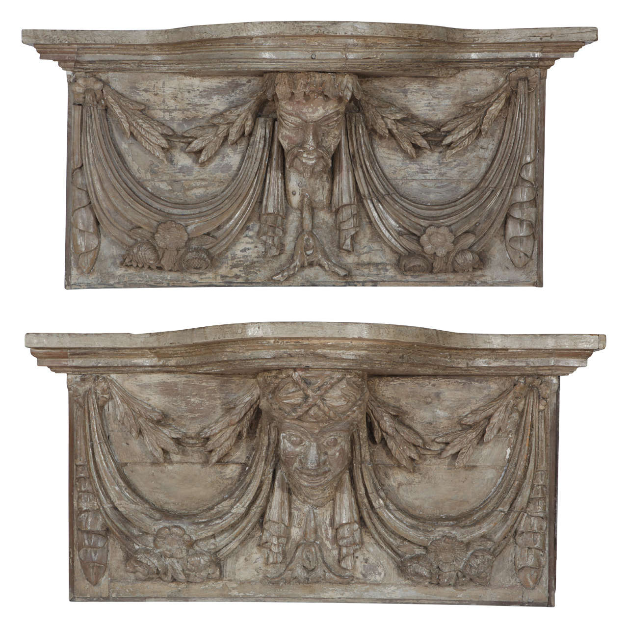Pair of 19th Century French Carved Wall Consoles For Sale