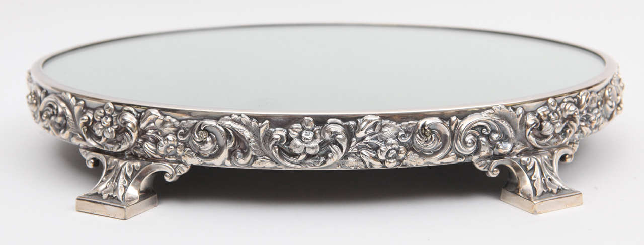 19th C Reed And Barton Silvered Bronze Oval Plateau At