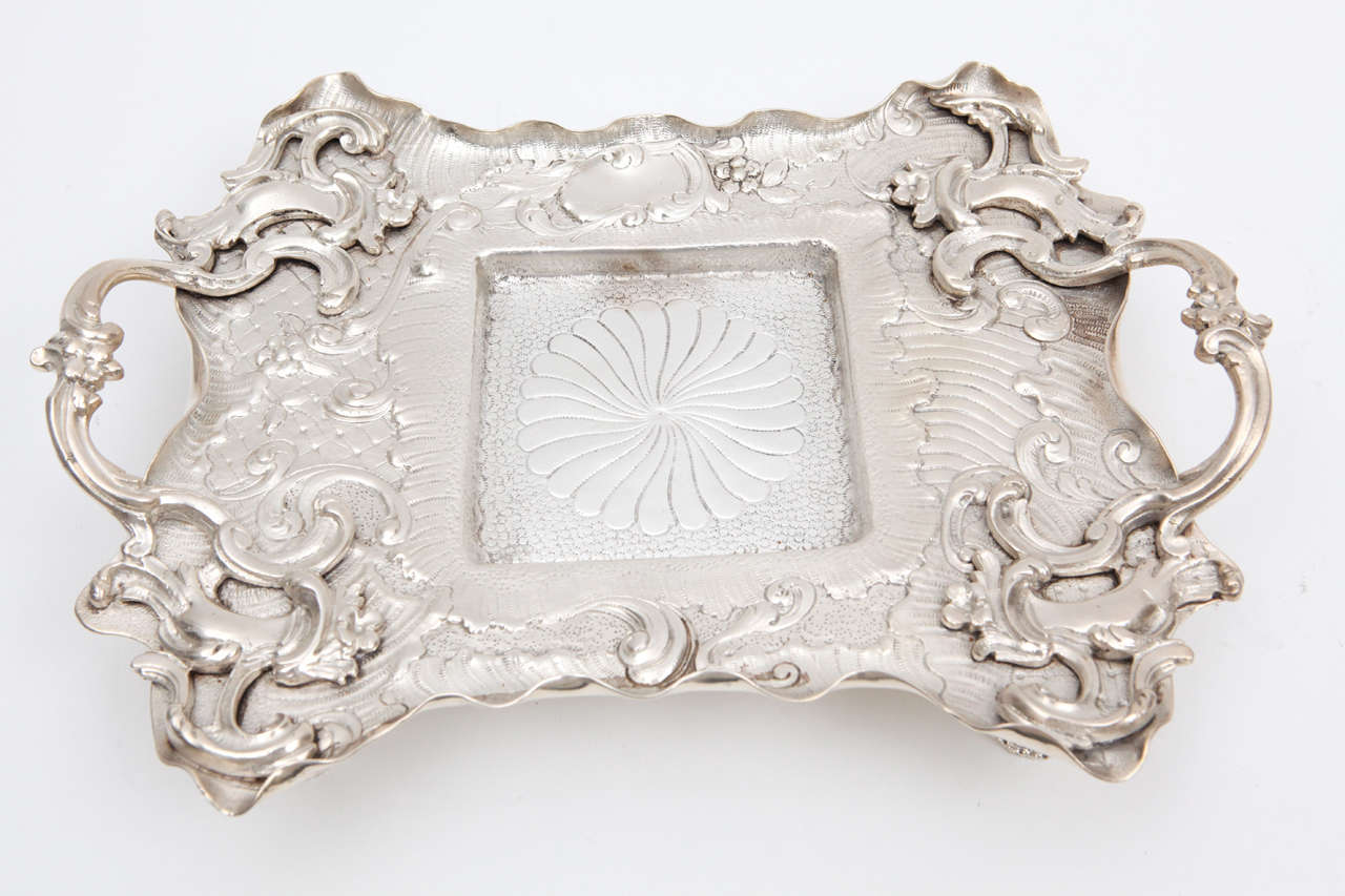 Early 20th Century 1900s English Crystal and Silver Plated Sheffield Inkwell on Tray For Sale