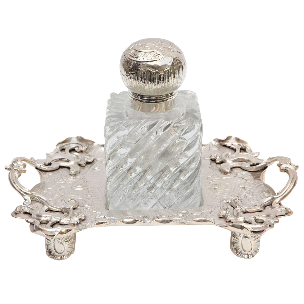 1900s English Crystal and Silver Plated Sheffield Inkwell on Tray