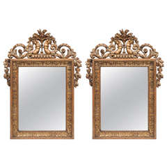 Pair of 19th Century French Empire Giltwood Mirrors