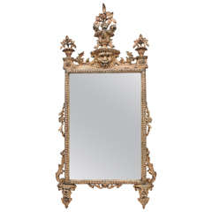 18th Century Italian Giltwood and Painted Mirror
