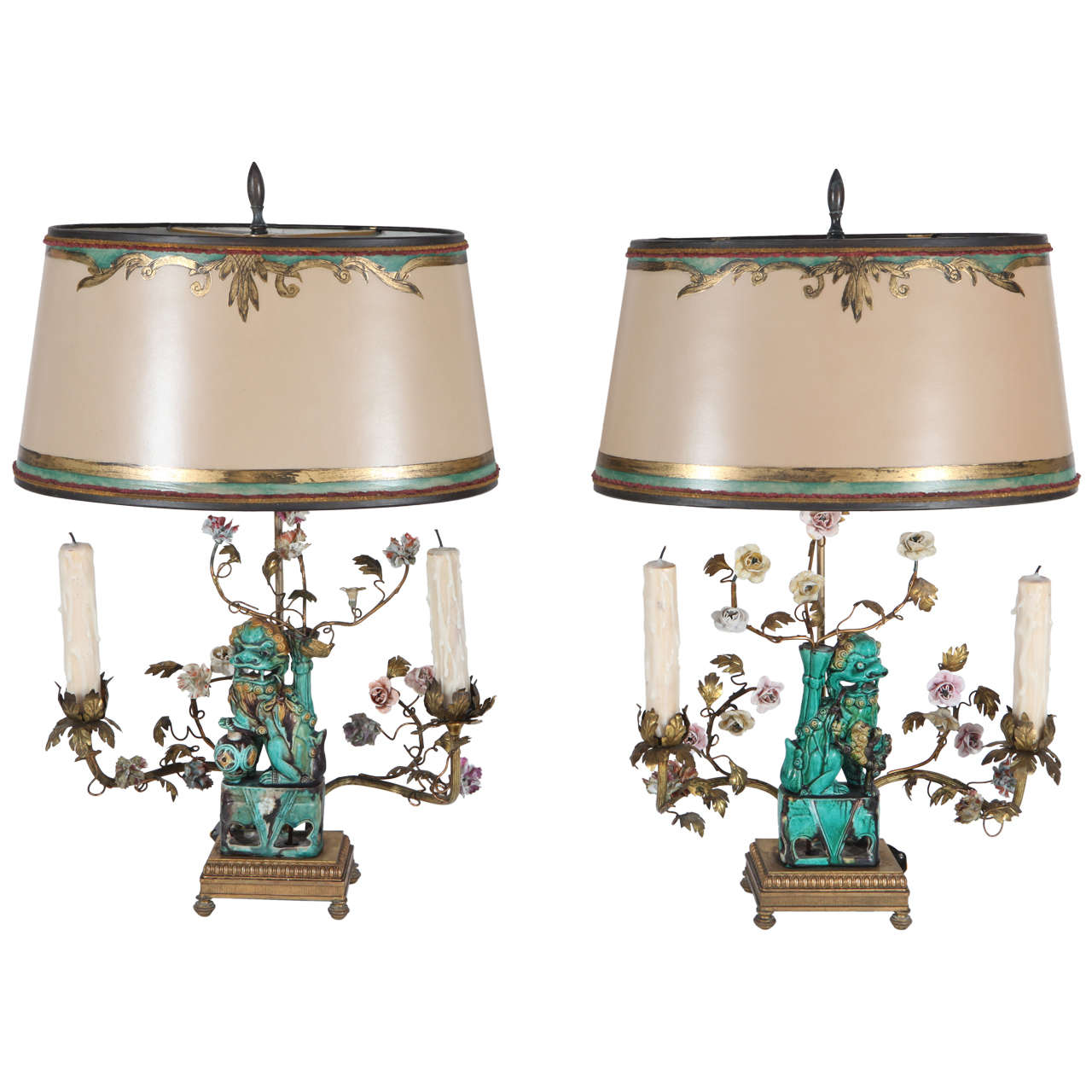 Exceptional Pair Of 19th Century French Chinese Foo Dog Lamps For Sale