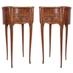 Pair of 1900s French Kidney Shaped Walnut End Tables