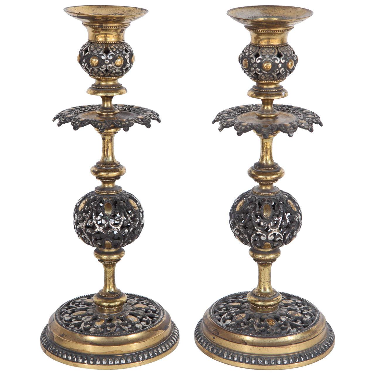 Pair Of 19th Century Italian Pierced Bronze Candlesticks