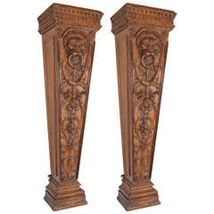 Pair of 19th Century English Pine Pedestals