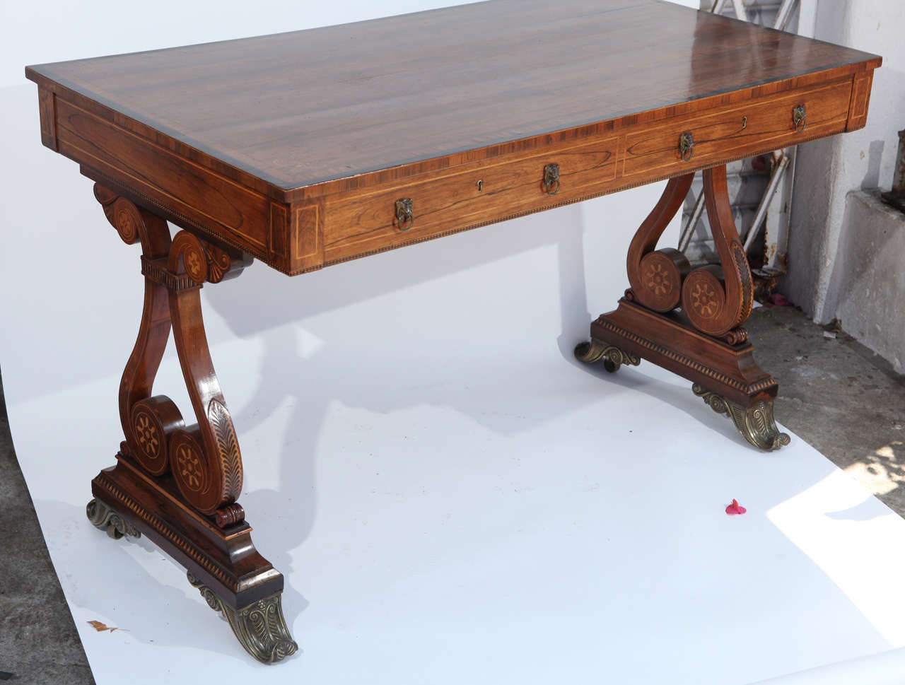 Inlay 19th Century English Rosewood Regency Desk with Two Drawers For Sale