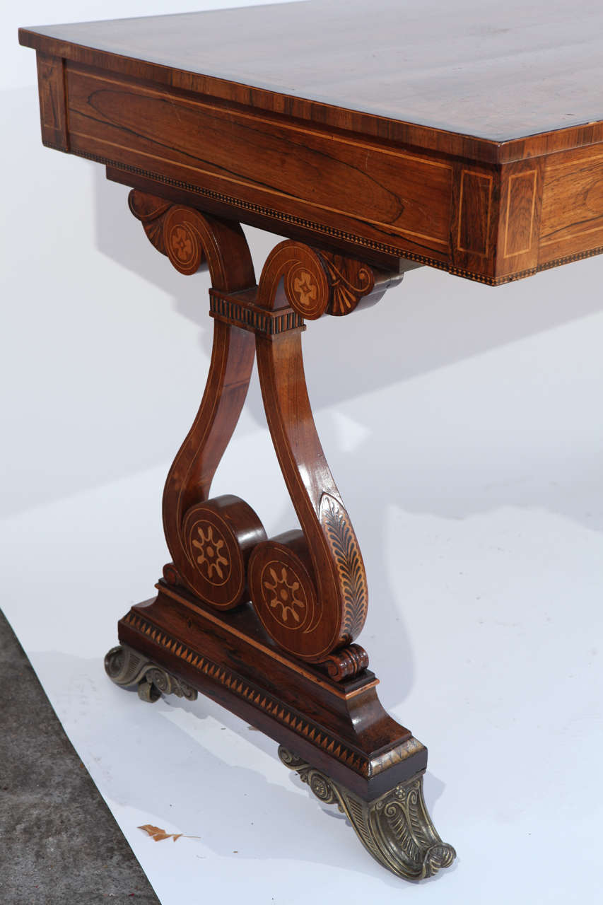 19th Century English Rosewood Regency Desk with Two Drawers In Excellent Condition For Sale In Los Angeles, CA