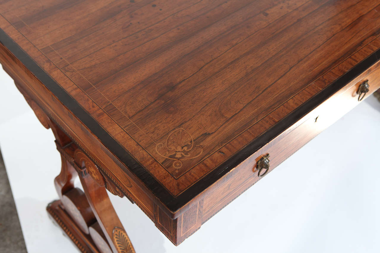 Bronze 19th Century English Rosewood Regency Desk with Two Drawers For Sale