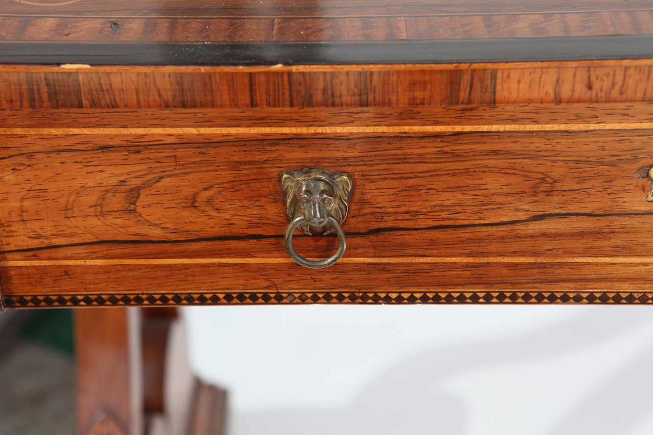 19th Century English Rosewood Regency Desk with Two Drawers For Sale 1