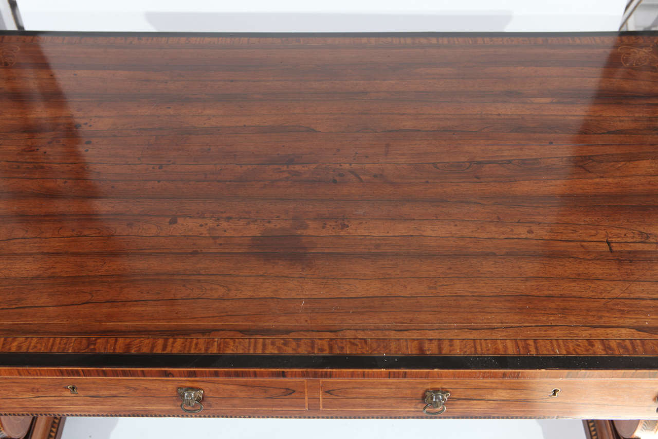 19th Century English Rosewood Regency Desk with Two Drawers For Sale 3