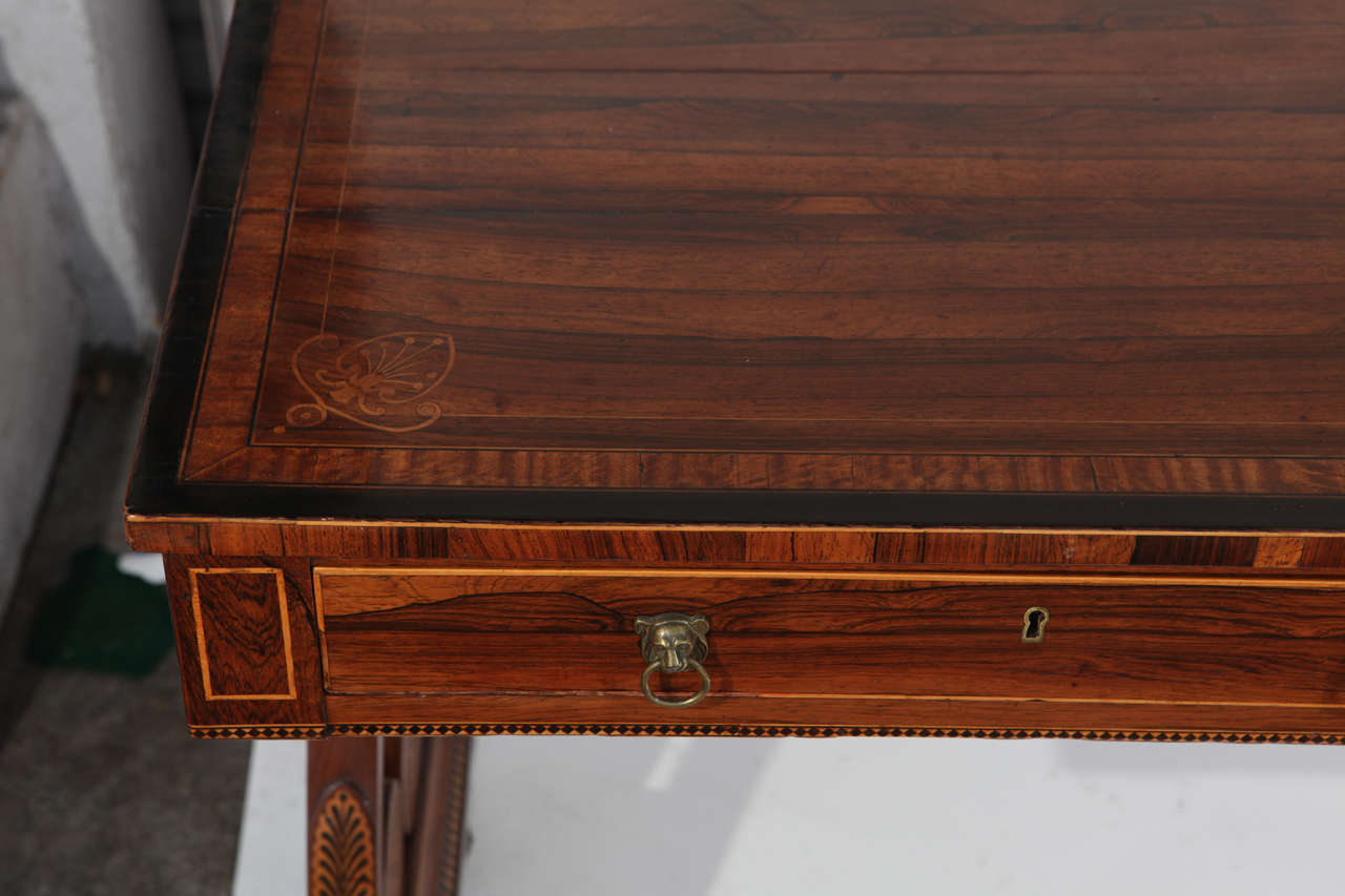19th Century English Rosewood Regency Desk with Two Drawers For Sale 4