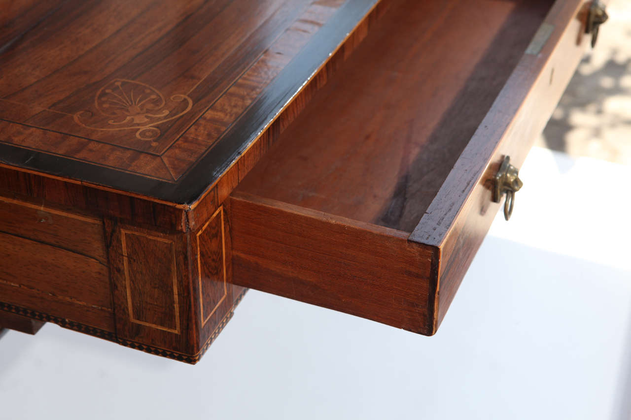 19th Century English Rosewood Regency Desk with Two Drawers For Sale 5