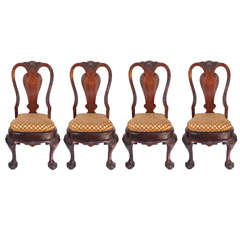 Group of Four 19th Century English Queen Anne Style Side Chairs