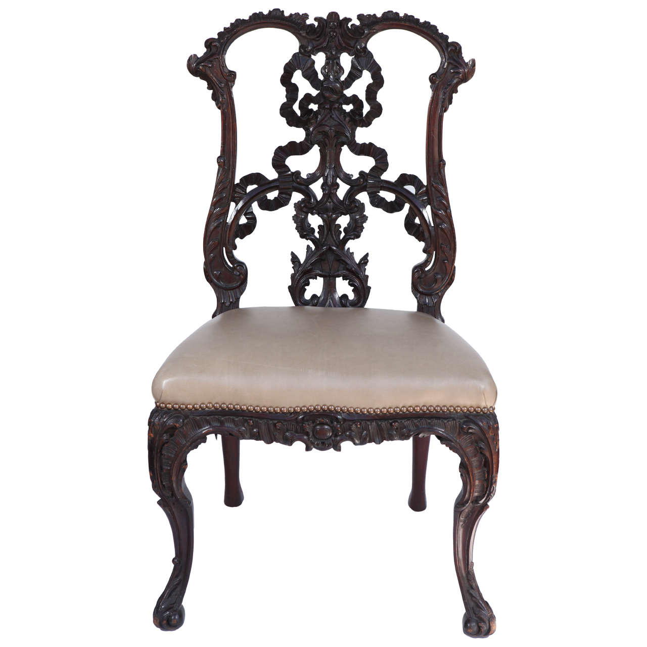 Merveilleux Single 19th Century Chinese Chippendale Side Chair For Sale
