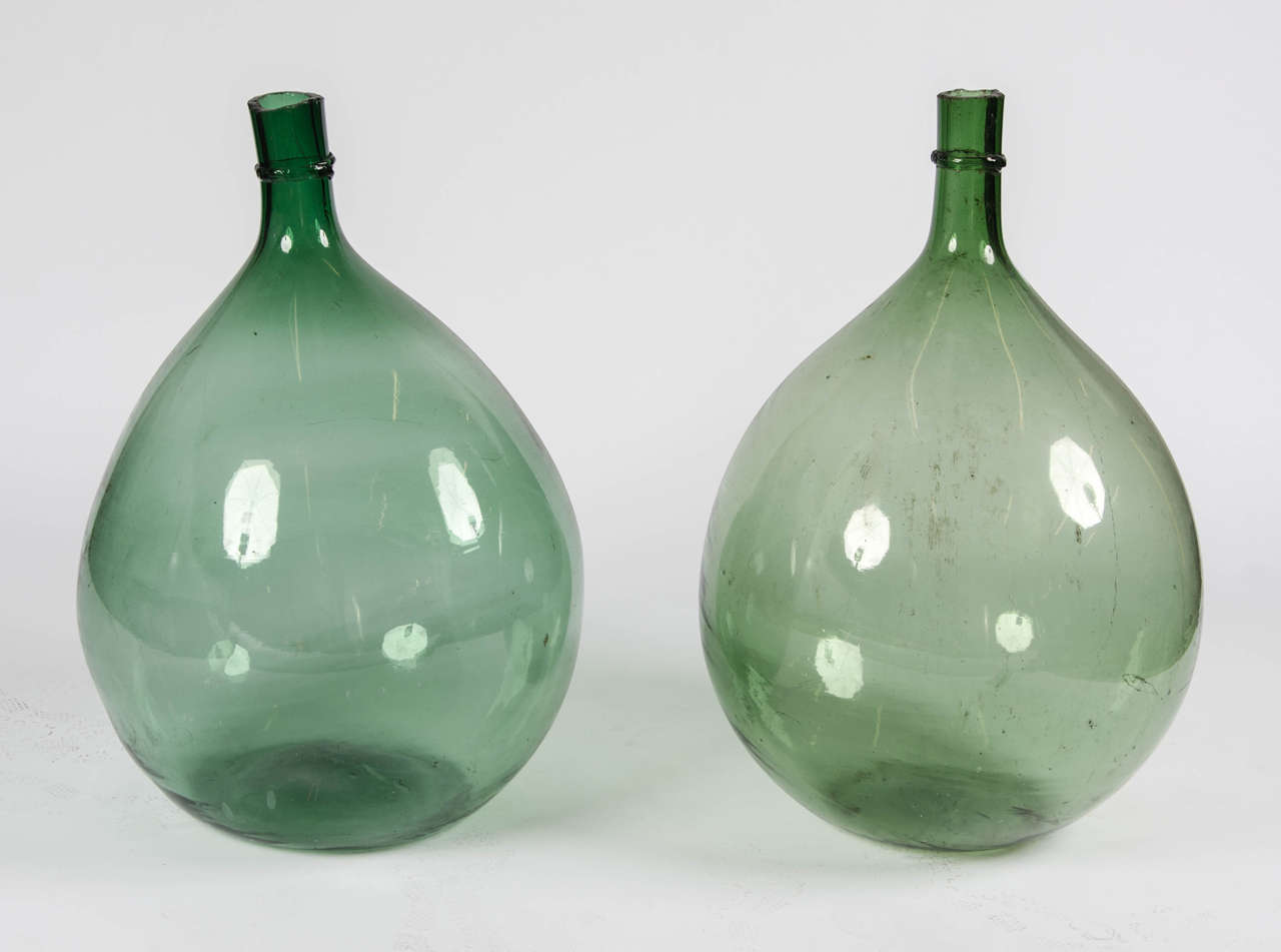 Pair of late 18th century green handblown demijohns glass bottles a stunning pair of late 18th century french handblown green in colure demijohns maker unknown reviewsmspy