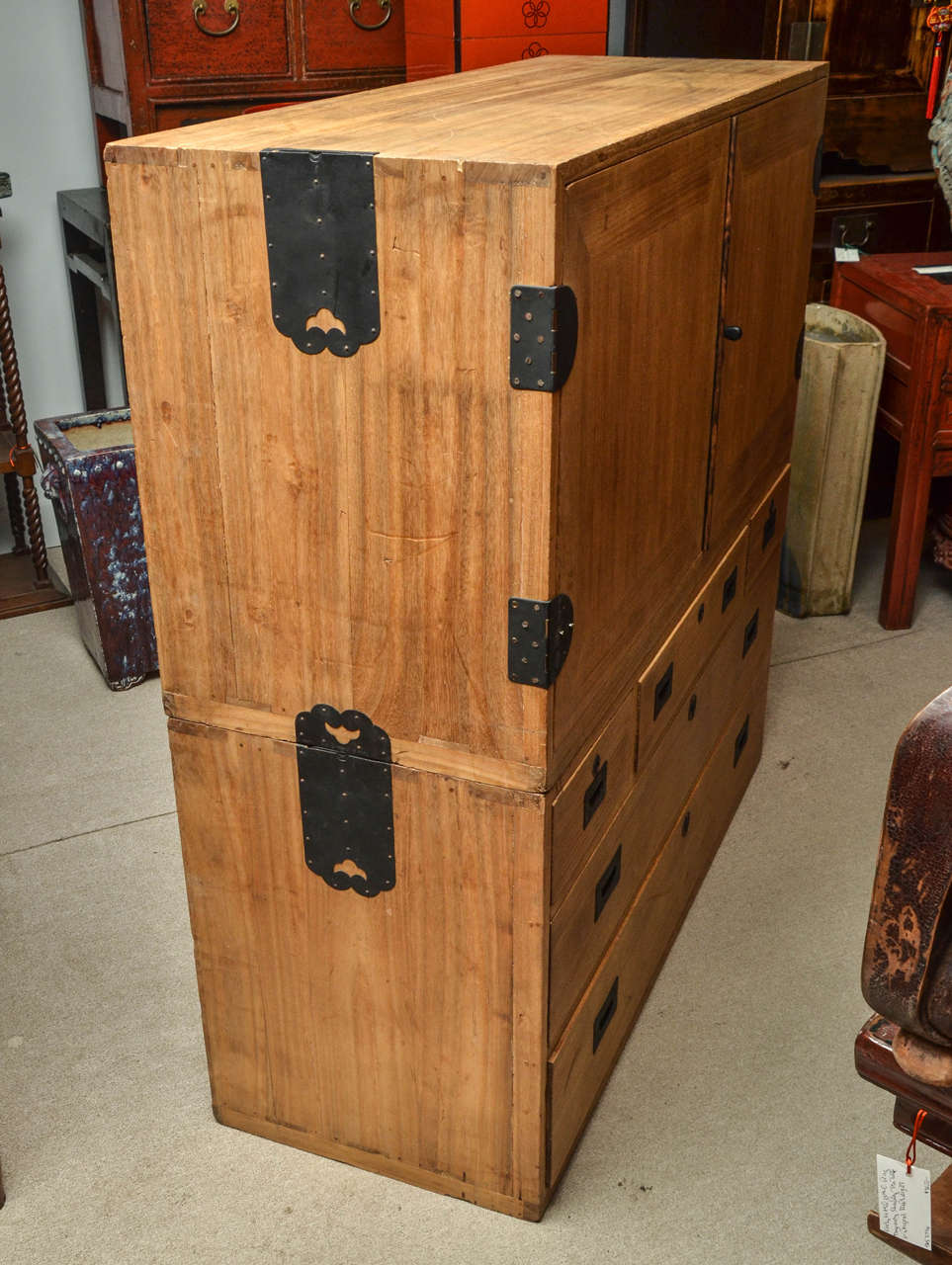 Wood Turn of the Century Meiji Period Japanese Kimono Chest in Campaign Form For Sale