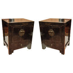 Turn of the Century Qing Dynasty Black Lacquered Beijing Bedside Chest
