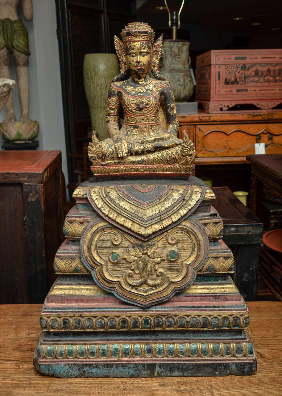 19th century carved Cambodian seated Buddha in