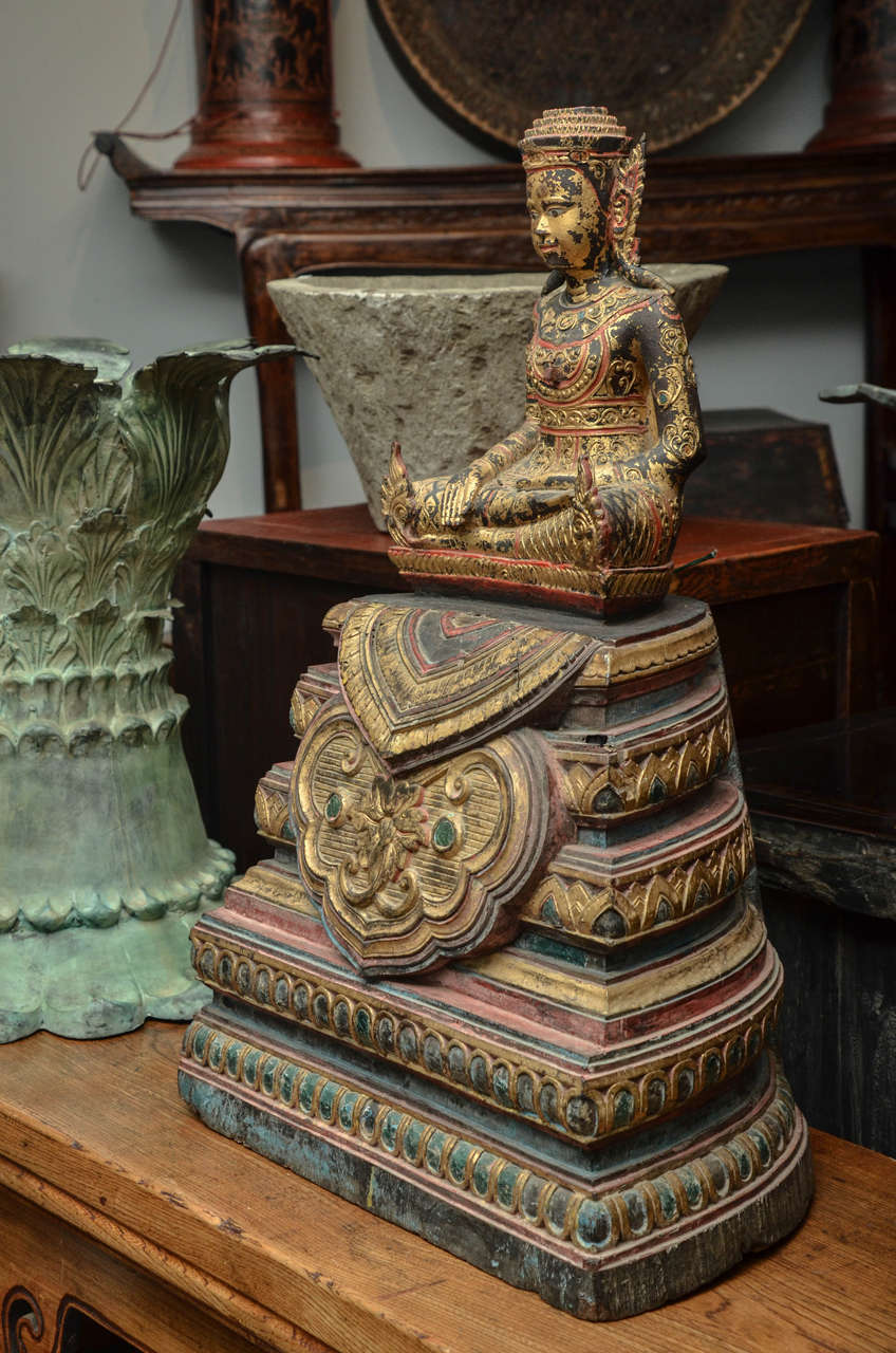 Wood 19th Century Carved and Parcel-Gilt Cambodian Seated Buddha in Royal Dress For Sale