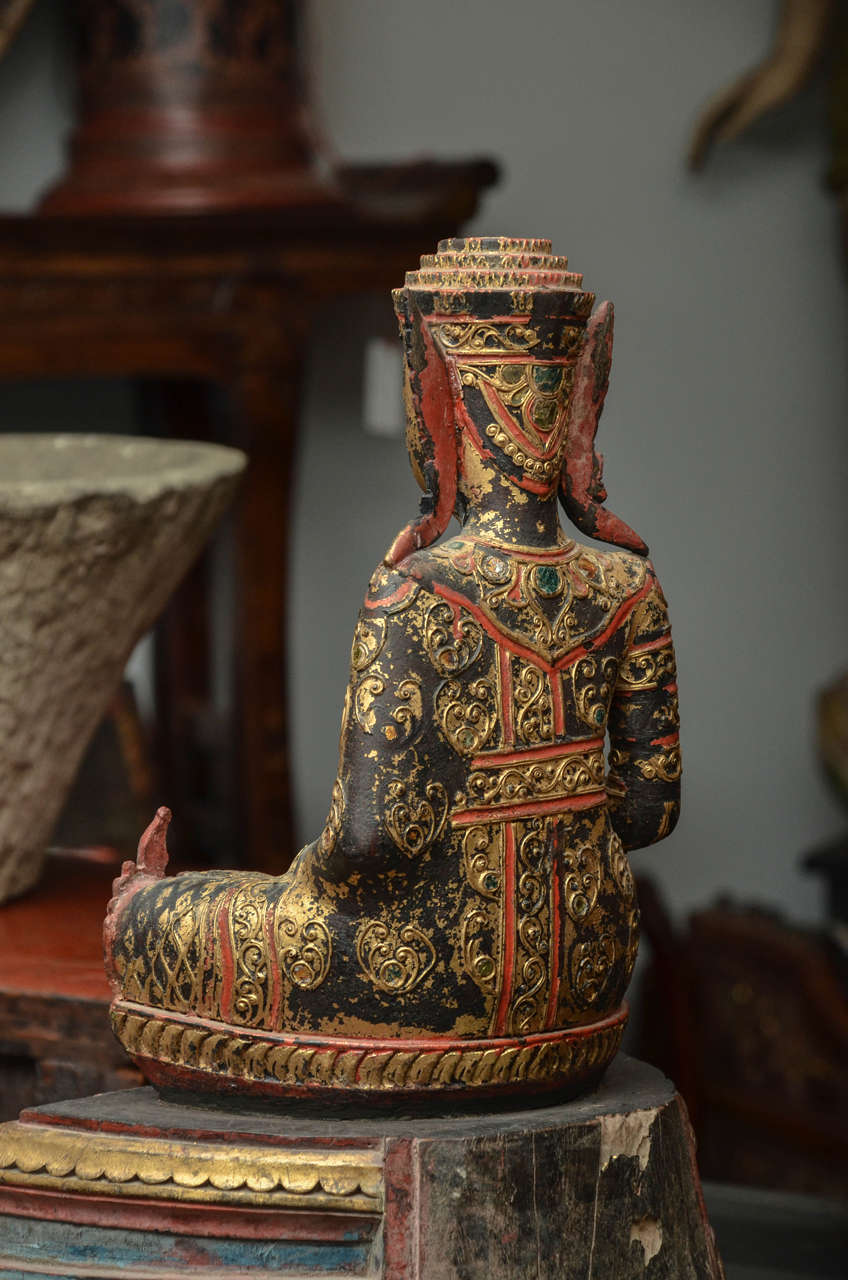 19th Century Carved and Parcel-Gilt Cambodian Seated Buddha in Royal Dress For Sale 2