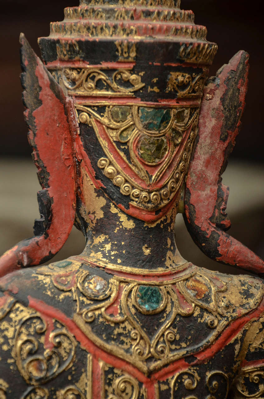 19th Century Carved and Parcel-Gilt Cambodian Seated Buddha in Royal Dress 9