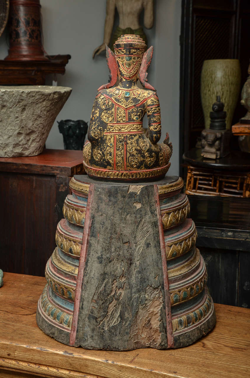 19th Century Carved and Parcel-Gilt Cambodian Seated Buddha in Royal Dress For Sale 5