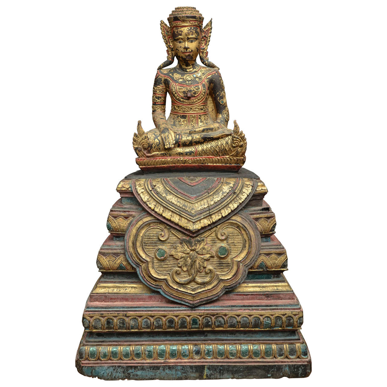 19th Century Carved and Parcel-Gilt Cambodian Seated Buddha in Royal Dress For Sale