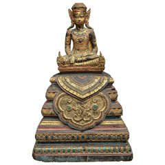 19th Century Carved and Parcel-Gilt Cambodian Seated Buddha in Royal Dress