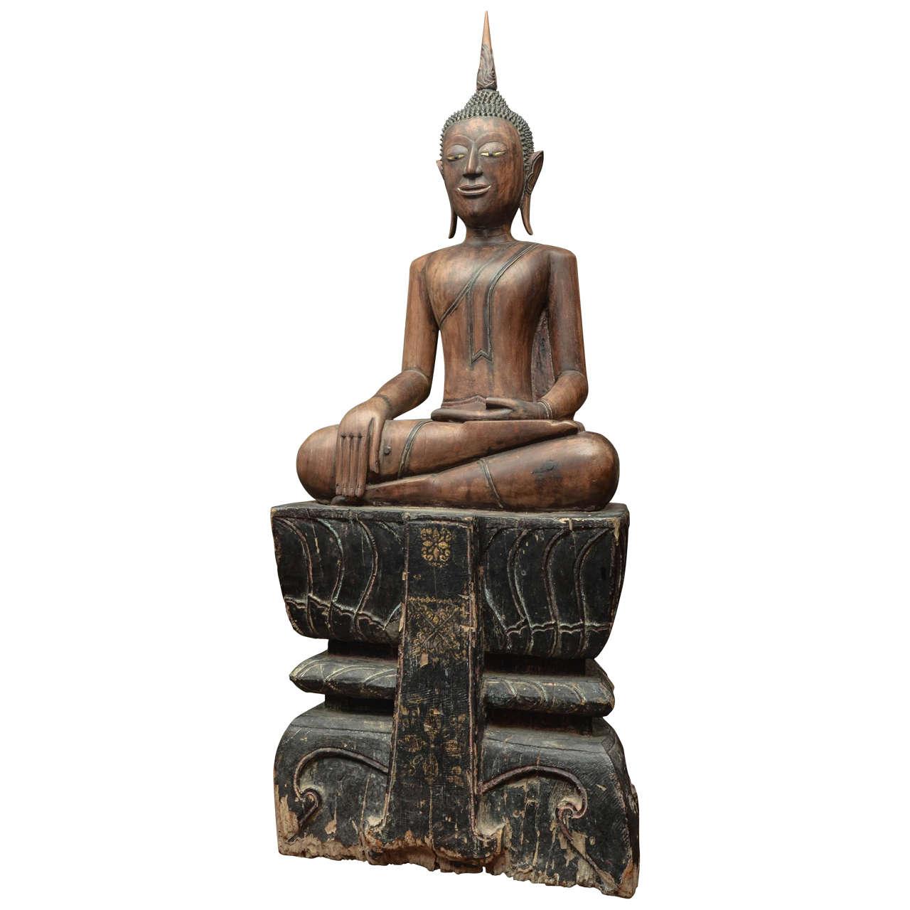 Late thc thai carved walnut seated buddha at stdibs