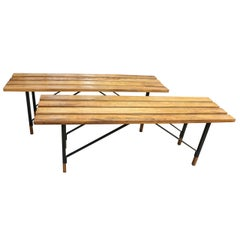 Wood Slat Benches with Black Metal Bases