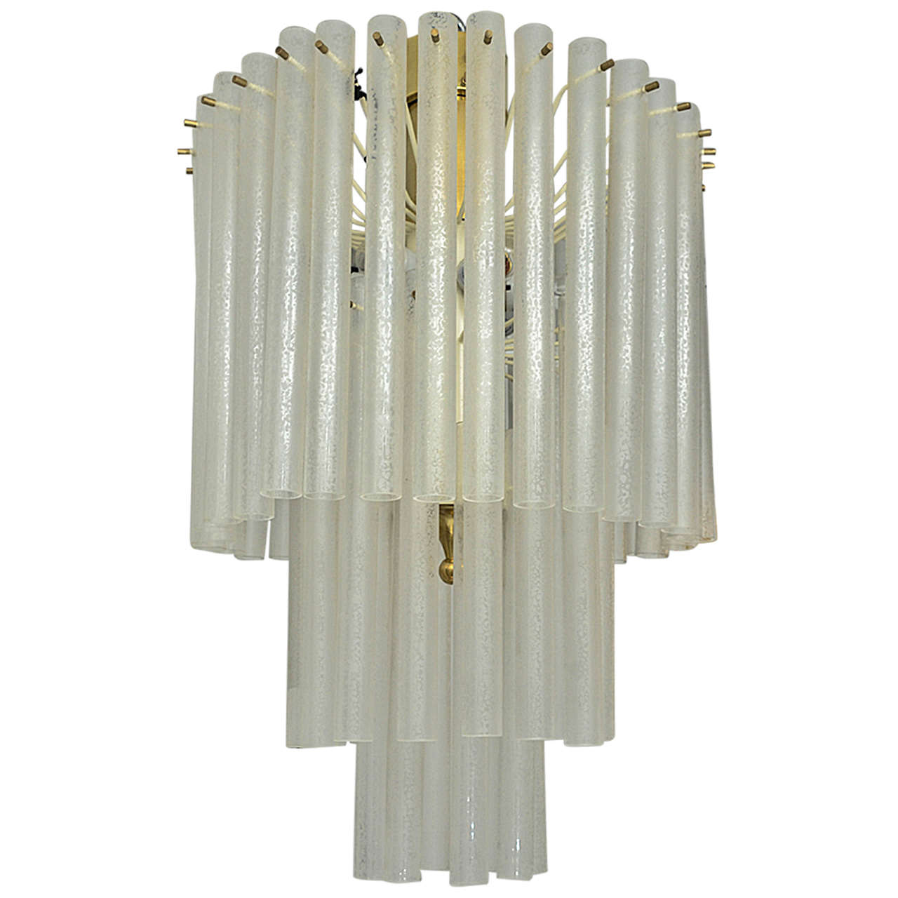Three-Tier Chandelier Composed of Multiple Frosted Glass Tubes by Venini