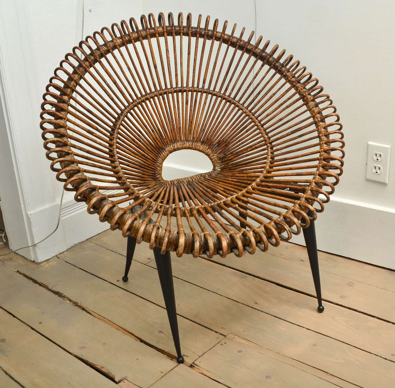 """Pair of Rattan """"Circle"""" Chairs with Metal Bases 2"""