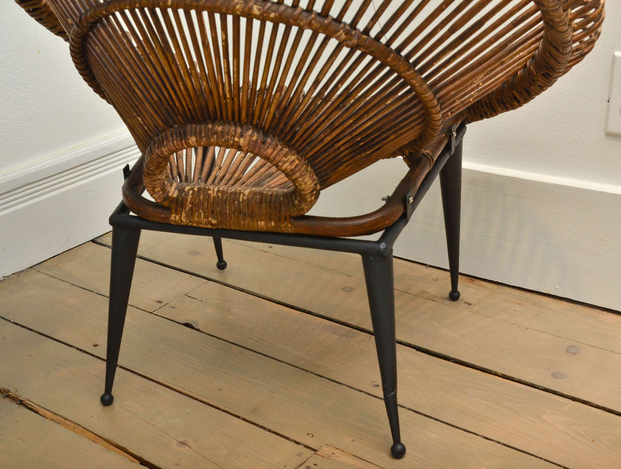 """Pair of Rattan """"Circle"""" Chairs with Metal Bases 4"""