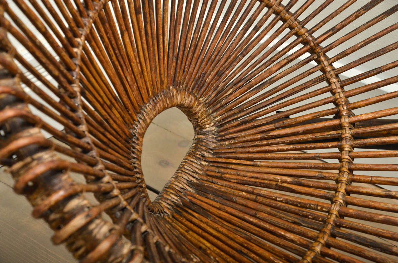 """Pair of Rattan """"Circle"""" Chairs with Metal Bases 7"""