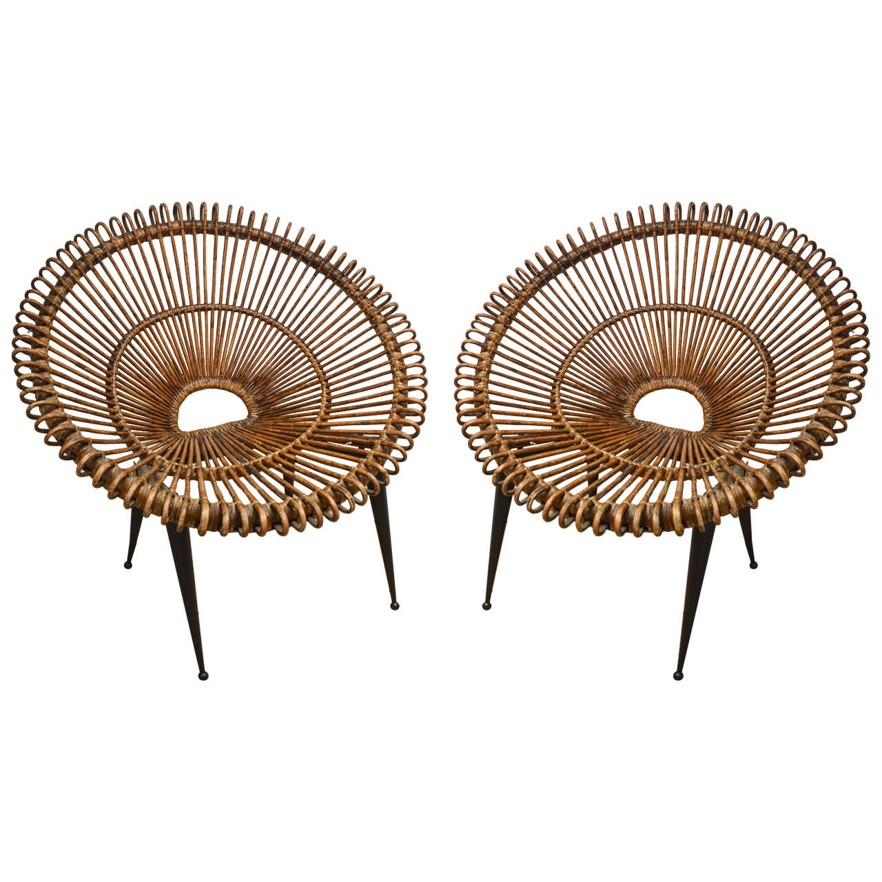 """Pair of Rattan """"Circle"""" Chairs with Metal Bases 1"""