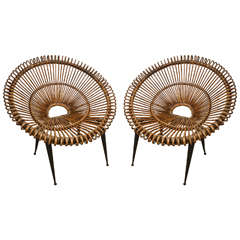 "Pair of Rattan ""Circle"" Chairs with Metal Bases"