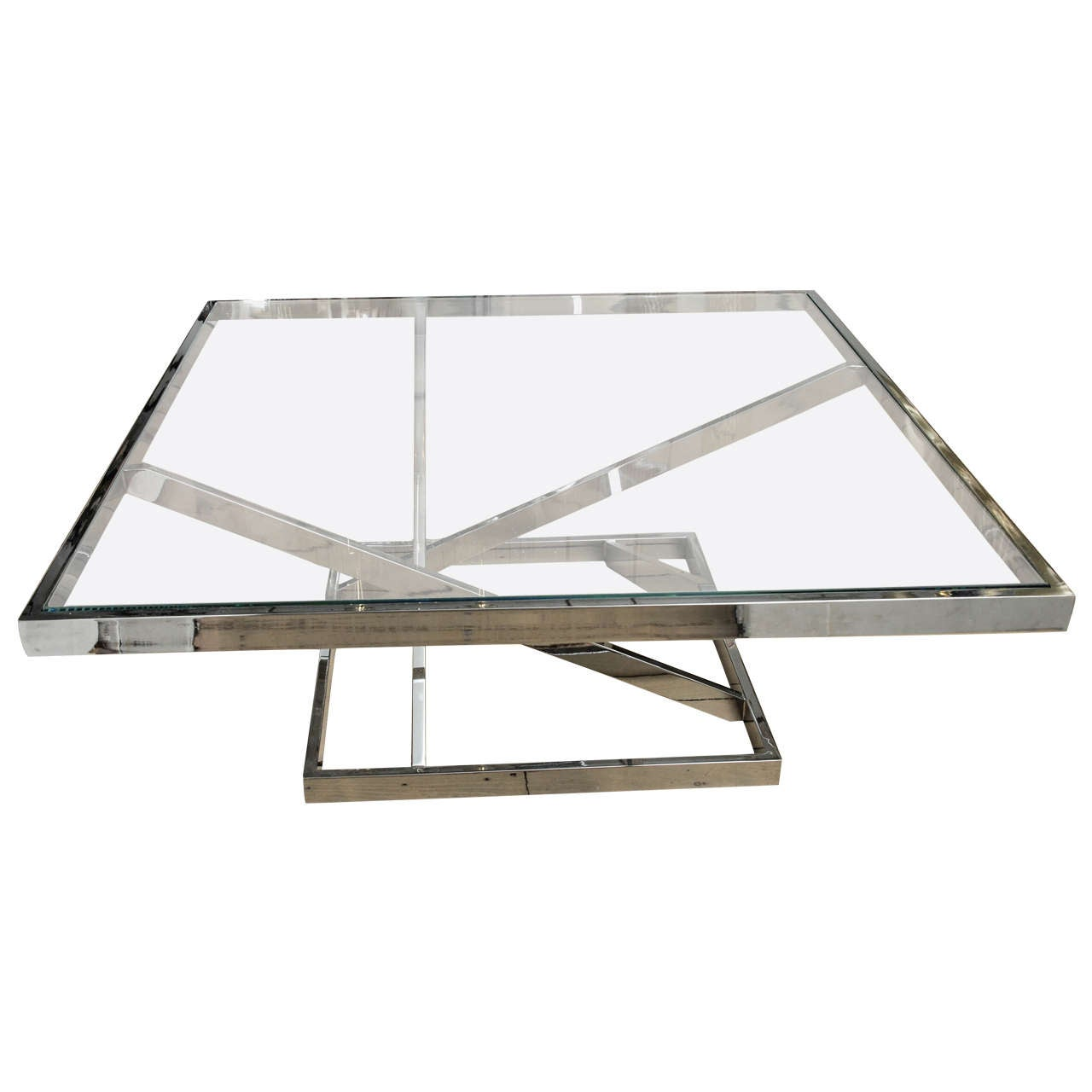 Square Chrome Coffee Table with Glass Top