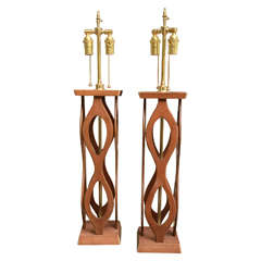 Pair of Wood Open-Work Table Lamps with Brass Hardware